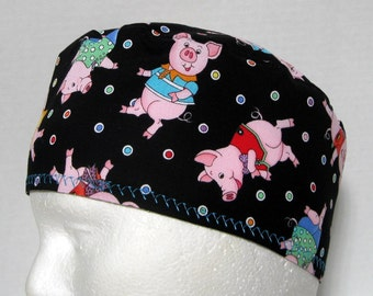 Scrub Hat, Surgical Cap or Chemo Hat with Dancing Pigs