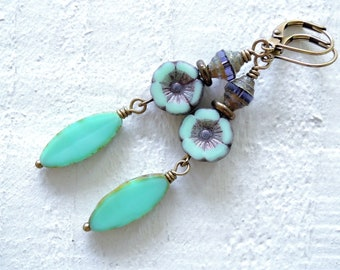 Soft Aqua Green Floral Dangle Earrings Mothers Day Gift for Her Czech Glass Dangles Mint Lavender Flower Earrings Floral Accessories