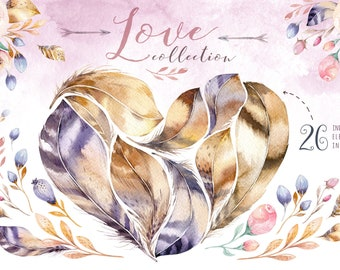 Watercolor bohemian Feather heart. Clipart tribe Collection. Digital valentines PNG Watercolor feather , floral, bouquets. Flower, patterns