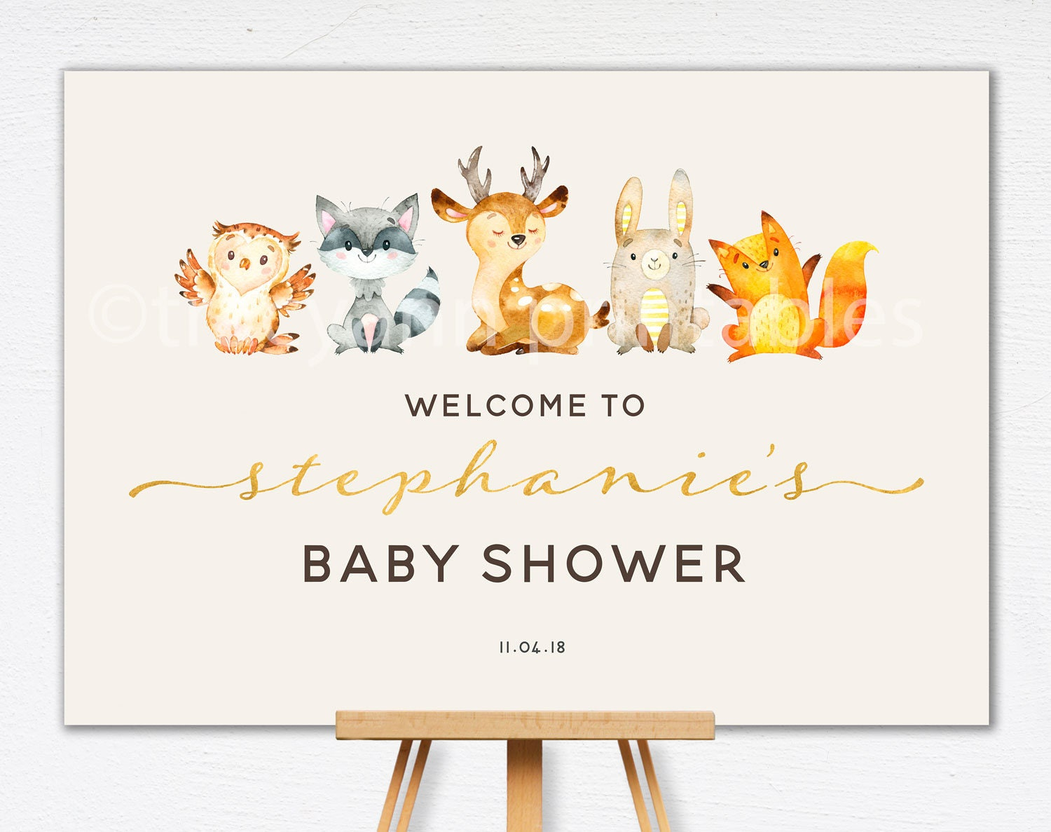 Woodland Baby Shower Welcome Sign Baby Shower Sign Custom