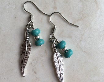 Bohemian Feather and Turquoise Bead Danngle Earrings, Hippy Style, Free Spirit, Gypsy Earrings.