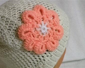 Runner's, Skier's, Hiker's, Walker's Hand Crocheted Messy Bun Hat with Large Flower Adornment