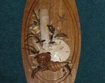 Seashell Art Wood Plaque Oval Wall Hanging Vintage Beach Shell Decor