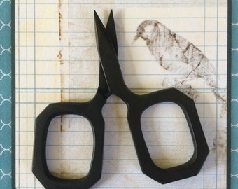small MATTE BLACK embroidery scissors travel sized handy cutting tool