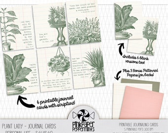 Printable Bible Verse Cards for Bible Journaling - Digital Scripture Journal Cards for journaling prayers with a Botanical Plant Lady Theme