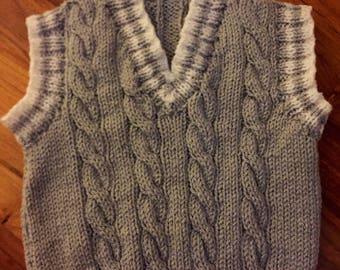 Hand Knitted Baby Boy Sleeveless Jumper