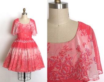 vintage 1960s dress | 60s floral chiffon dress