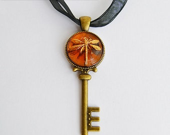 Dragonfly in Amber (Czech Glass) Bronze Key Pendant - Claire Fraser Sassenach Jewelry - Outlander inspired