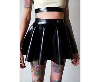 Sale! Black latex full circle skater skirt XXS- 5XL