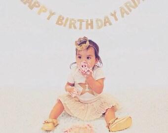 Custom Happy Birthday Banner -- Birthday Party Decoration / Photo Prop