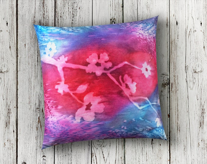 Fuchsia Pillow-Watercolor Silk Pillow-Cherry Blossom Pillow-Floral Decor-Boho Decor-Mother's Day Gift-Home Decor Gifts-Watercolor Home Decor