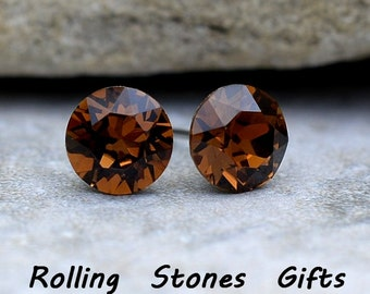 7.27mm Smoked Topaz Swarovski Studs Xirius Round Rhinestone Stud Earrings-Swarovski Smoked Topaz Stud Earrings-Brown Crystal Earrings