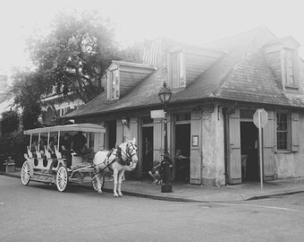 """New Orleans Art. Jean Lafitte's Blacksmith Shop Photography. """"Bourbon and Blacksmith"""" French Quarter Photograph Black and White."""