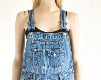 Vintage 90s Denim Overall Shorts. Womens X Small