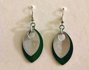 Celtic Etched Scale Green and Silver Earrings