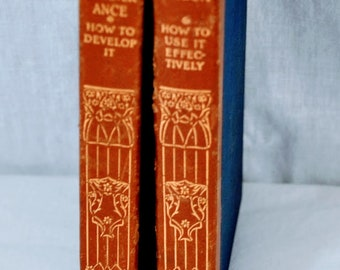 Pair of Leather Bound Books - Speech How To Use It Effectively and Perseverance How to Develop It - 1915
