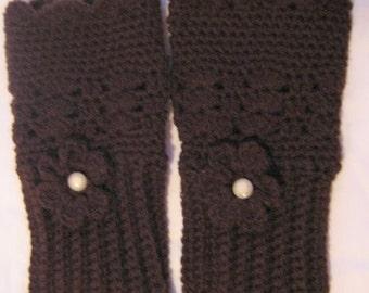 Fingerless Mittens Hand Crochet Gloves Dark Chocolate Brown with button embellishment
