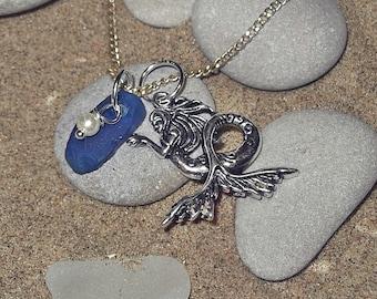 Mermaid Sea Glass Necklace Blue Beach Glass Necklace Sea glass Jewelry