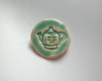 Porcelain Teapot brooch