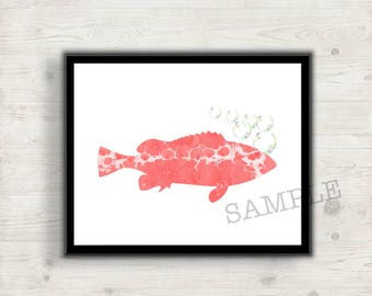 Coral Fish Printable Art, Fish with Bubbles Digital Wall Art, Print at Home, Office Decor, Home Decor, Nursery or Bedroom Decor