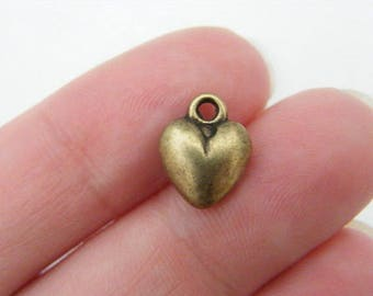BULK 50 Heart charms antique bronze tone BC228