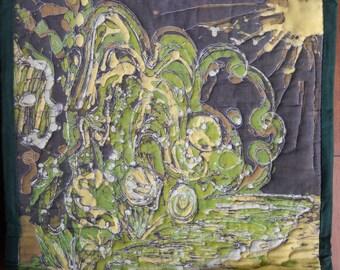 """Sun Garden- by Lisa Martin, An original 15"""" x 15"""" hand crafted batik wall hanging on thread hanger"""