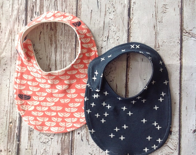 Coral and Navy Organic Bibs 2 pack