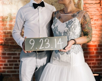 Save the Date Wooden Sign / Engagement Photo Prop / Distressed Grey, White - many colors available