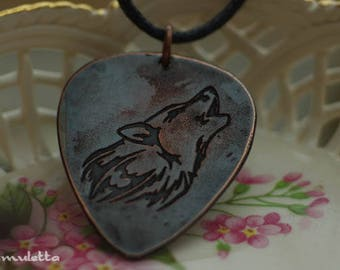 Wolf, wolves guitar pick necklace, guitar pick jewelry