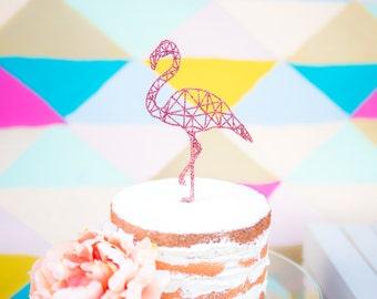 Flamingo Cake Topper Geometric Party Cake Topper Flamingo for Birthday or Wedding Cake Decor (Item - FLA100)