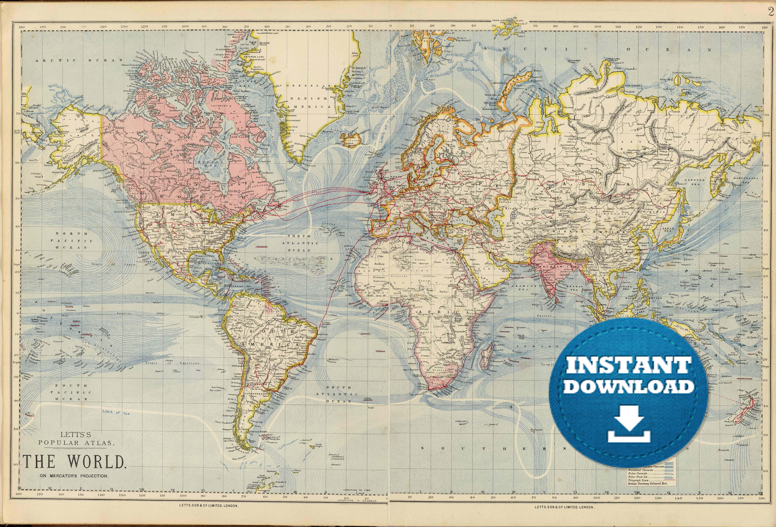 Digital old world map hight printable download vintage zoom sciox Gallery