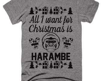 Harambe Christmas Shirt. mens christmas shirt. womens christmas shirts.