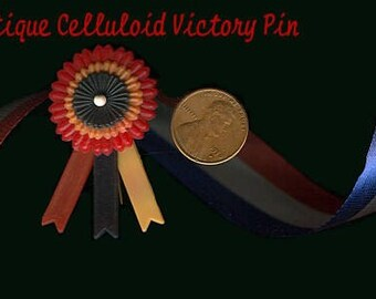 Patriotic Red White Blue Celluloid Victory Pin for Doll or Bear