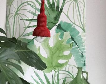Lampe, garden pendant, crocheted in red, 6 meter cord