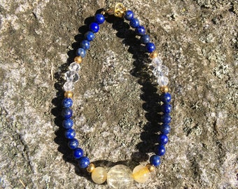 Rutilated Quartz and Lapis Bracelet