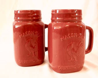 Pair of Red Mason Jar Drinking Mugs