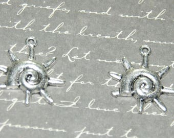 3 charms silver 22x21mm spiral Sun