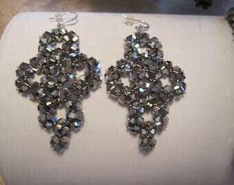 Swarovski Crystal Silver Dangle Earrings