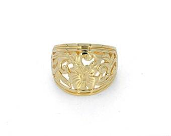 14k solid gold floral graduated band. index finger band. flower ring.