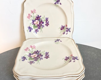 Set of six vintage Alfred Meakin side plates - cream with lilac and pink flowers