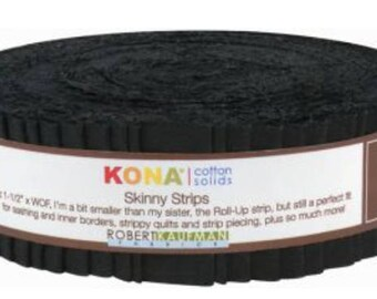 Skinny Strips Black Kona Cotton Robert Kaufman 1-1/2 inches x 44 inches (WOF - width of fabric)