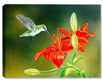 Ruby Female And Lily - Fine Art Canvas Print - Indoor Art or Outdoor Art