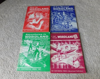 Vintage Elementary School Workbooks Lot of 4 Wordland Series 1950's