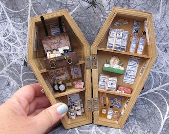 Miniature Coffin Shadow Box - Quack Doctor - Snake Oil Salesman
