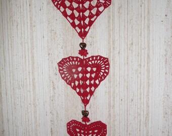 Doilies in heart shape hand crochet Christmas Decor