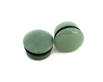 "Green Aventurine Single Flare Plugs - 6g, 4g, 2g, 0g, 00g, 7/16"", 9/16"", 3/4"", 7/8, 1"""