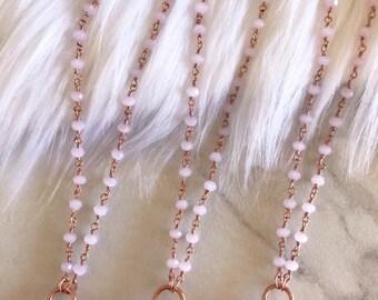 Rose Quartz Necklace, Rose Quartz Pendant, Rose Quartz Necklace Rose Gold, Rose Quartz Crystal Necklace, Delicate Rose Gold Necklace,