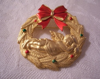 Angel Wreath Bow Pin Brooch Gold Tone Vintage JJ Satin Leaves Red Green