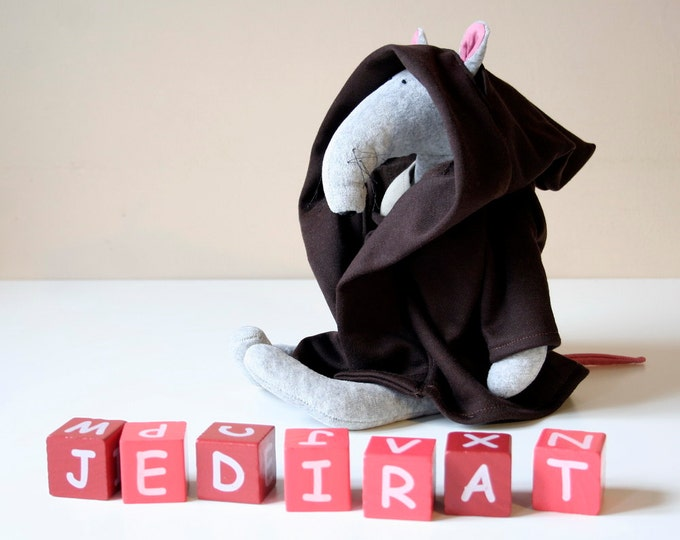 Jedi Rat, Grey Plush Rat dressed up as a Jedi Knight, Soft Toy for Babies