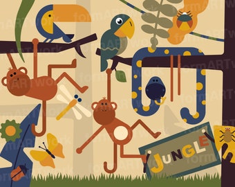 Jungle Clip Art Commercial Use, Jungle Animals Clipart Set, Jungle Digital Clip Art, Digital Images, Cute Jungle Clip Art, Download – CL002
